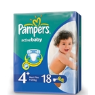 Подгузники «Pampers Active Baby 4» Maxi+ 9-20 кг (18 шт.)